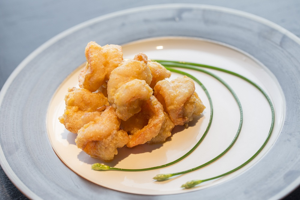Fried Prawns with salted egg yolk and crab roe sauce
