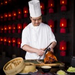 Our roasted Peking duck is carved at your table!