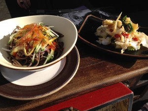 Tossed buckwheat noodles and sliced sea whelk salad